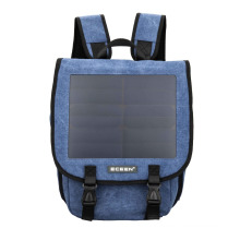 High quality chargeable canvas blue&brown color solar day backpack